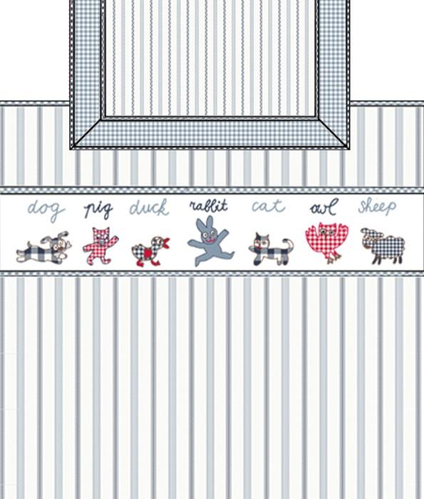 Snoezig blauw  wit gestreept dekbedovertrek met diertjes   Room Seven