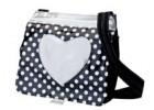 Handtasje of schooltas voor kinderen canvas zwart met zilver hart